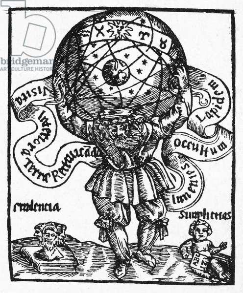 ATLAS The Greek Titan Atlas supporting the whole universe. Woodcut from Basile Valentin's 'L'Azoth de Philosophes,' Paris, France, 1659.