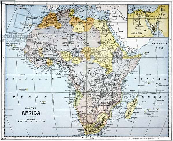 MAP: AFRICA, 19th CENTURY A late 19th century map of Africa with an insert showing the Suez Canal.