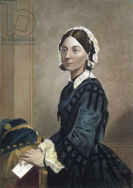 FLORENCE NIGHTINGALE (1820-1910). English nurse, hospital reformer, and philanthropist. coloured  engraving, 19th century.