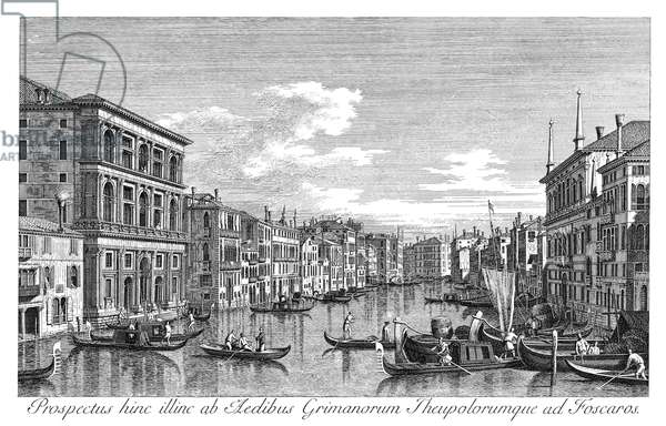 VENICE: GRAND CANAL, 1735 The Grand Canal in Venice, Italy, looking southwest from the Palazzo Grimani to the Palazzo Foscari. Engraving, 1735, by Antonio Visentini after Canaletto.