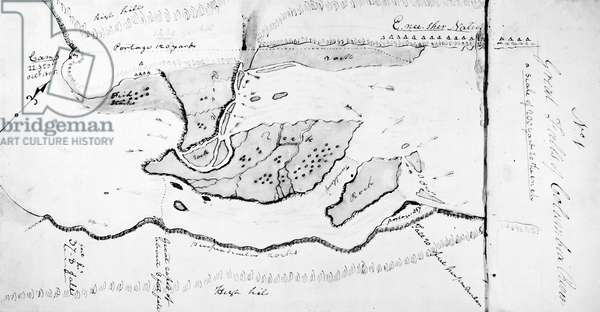 LEWIS AND CLARK: MAP, 1805 Detail of a map, c.1805, drawn by William Clark, showing portages around the 'Great Falls' of the Columbia River.'