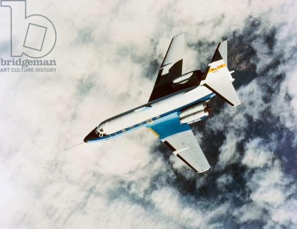 SPACE: TEST AIRCRAFT, 1984 A modified business jet developed by NASA to test the control of aerodynamic drag. Photograph, 1984.