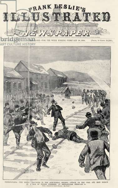 MINER STRIKE, 1888 A mob of striking Polish-American miners attacking the coal and iron police near Shenandoah City, Pennsylvania. Front page of Frank Leslie's Illustrated Newspaper, 3 February 1888.