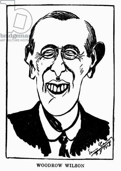WOODROW WILSON (1856-1924) 28th President of the United States. Early 20th century caricature.
