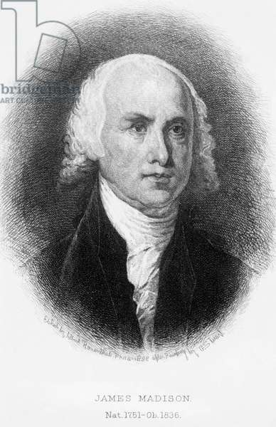 JAMES MADISON (1751-1836) Fourth President of the United States. Etching, 1888, by Albert Rosenthal after Gilbert Stuart.