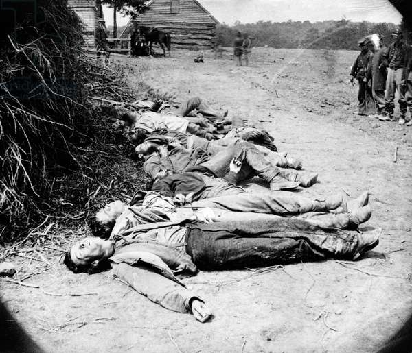 CIVIL WAR: DEAD SOLDIER Dead Confederate soldiers who fell during General Richard Ewell's attack on the Union Army at the Battle of Spotsylvania Court House in Virginia. Photograph, 19 May 1864.