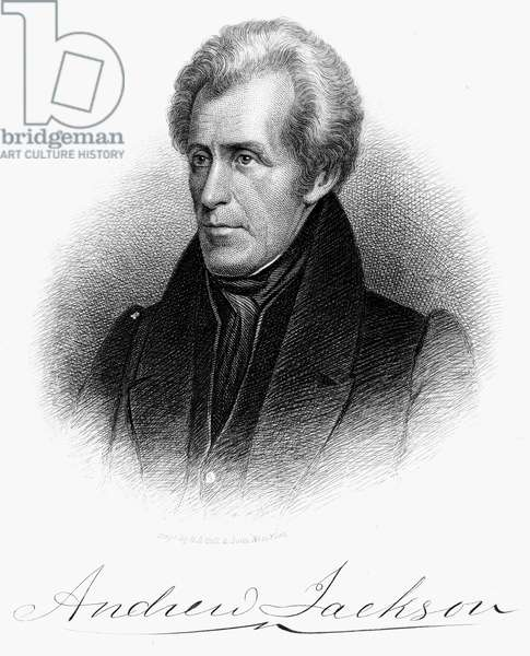 ANDREW JACKSON (1767-1845). Seventh President of the United States. Etching, 19th century.