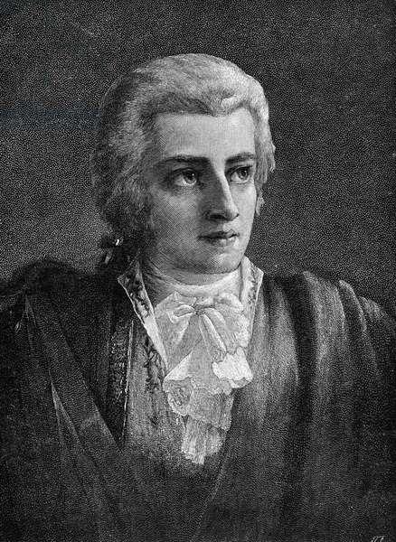 WOLFGANG AMADEUS MOZART (1756-1791). Austrian composer. Wood engraving, 1891.