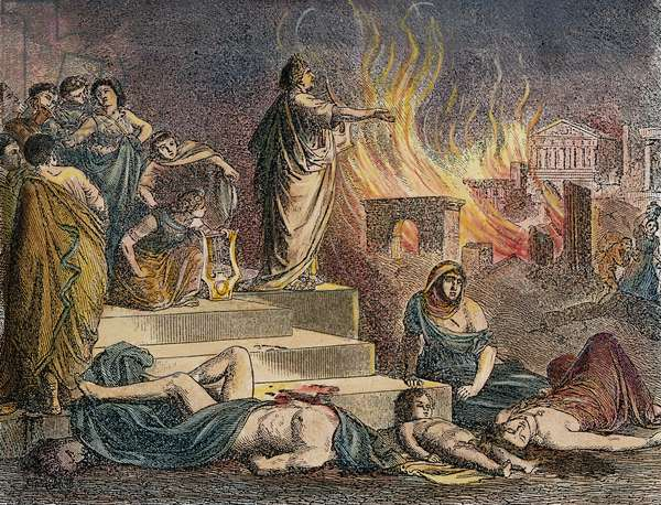 NERO PLAYING LYRE, 64 A.D Nero playing his lyre at the burning of Rome in 64 A.D. Engraving, 18th century.