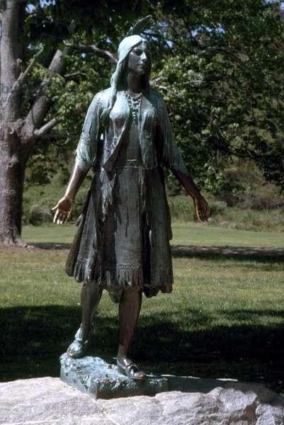 POCAHONTAS (1595?-1617) Native American princess. Bronze statue by William Ordway Partridge at Jamestown National Historic Site, Virginia, erected in 1922. Photographed in 2006.