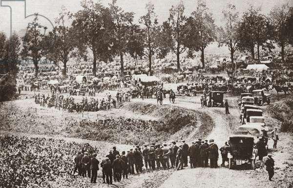 WWI: BELGIUM, c.1914 Belgian prisoners gathered in Vise, Belgium, after the German invasion. Photograph, c.1914.