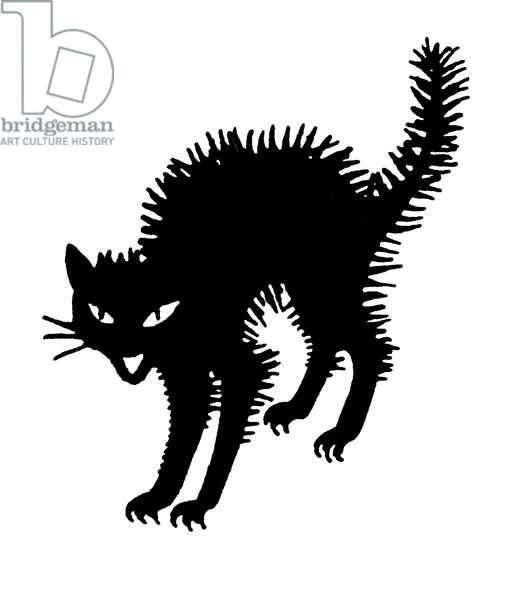 HALLOWEEN: BLACK CAT The black cat, a traditional Halloween symbol. Decorative cut.