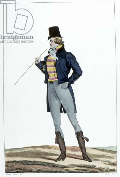 MEN'S FASHION, c.1814 An 'incroyable' wearing a Robinson hat, knitted pants, and Hussar-style riding boots. Etching, c.1814, by Georges Jacques Gatine after Horace Vernet.