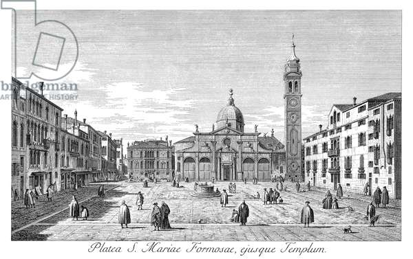 VENICE: MARIA FORMOSA Campo Sta. Maria Formosa in Venice, Italy, with Palazzo Malipiero-Trevisan in the background. Engraving, 1735, by Antonio Visentini after Canaletto.