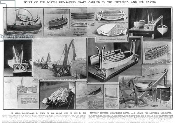 TITANIC: LIFEBOATS, 1912 Illustration showing different types of lifeboats, including the Welin Davit lifeboats (center) in use on the Titanic. Illustration from the Illustrated London News, 27 April 1912.