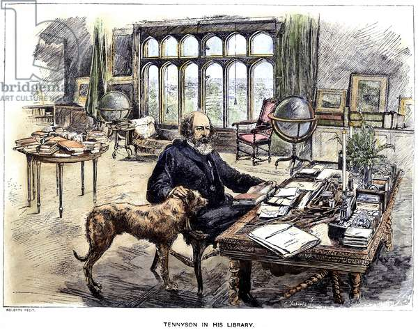 LORD ALFRED TENNYSON (1809-1892). 1st Baron Tennyson. English poet. Tennyson in his library with his dog. coloured  engraving, 19th century.