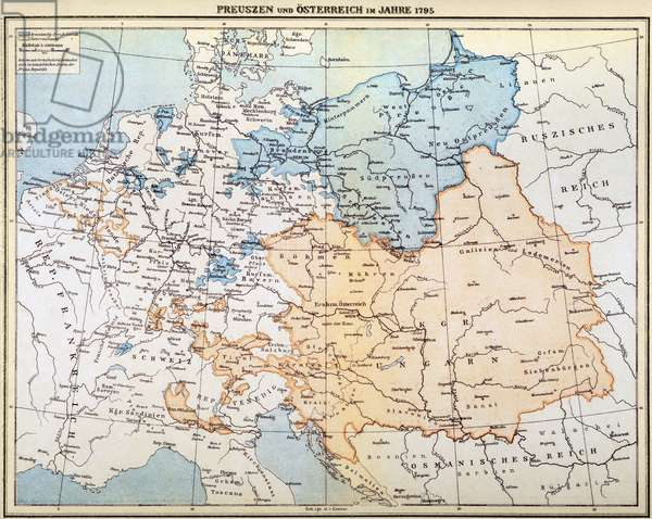 AUSTRIAN EMPIRE MAP, 1795 Map of Prussia and the Austrian Empire as they appeared in the year 1795.
