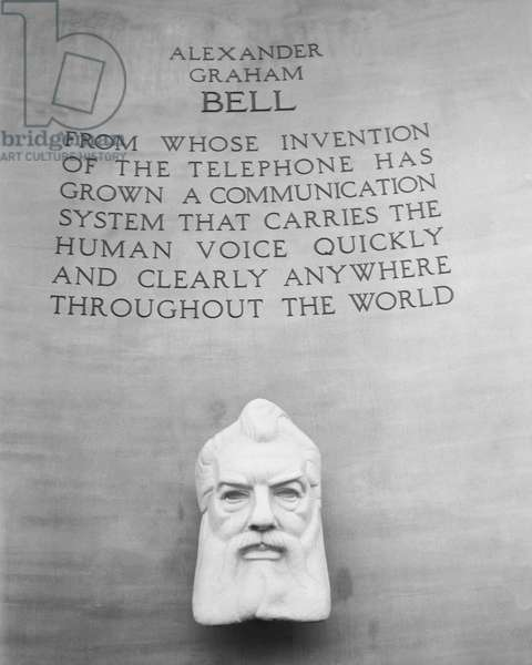 ALEXANDER GRAHAM BELL (1847-1922). American (Scottish-born) teacher and inventor. From the Bell Telephone Exhibit at the New York World's Fair, 1939-40.