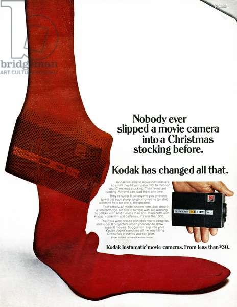 AD: KODAK, 1968 American advertisement for the Kodak Instamatic movie camera. Photograph, 1968.