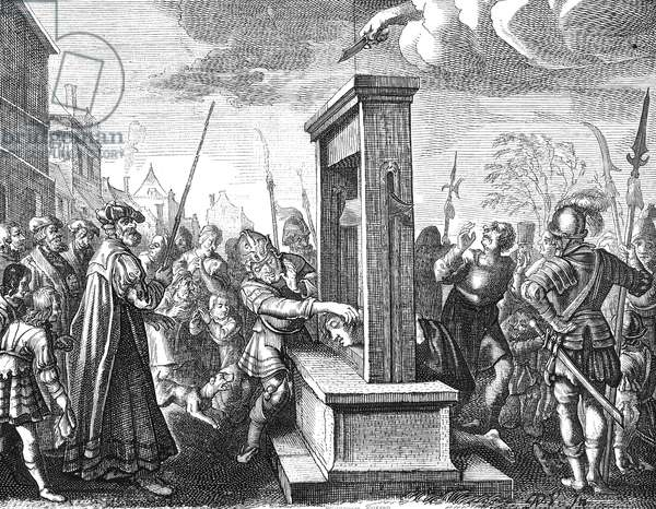 GUILLOTINE, 16th CENTURY The guillotine in 16th century France. After an engraving of the period.