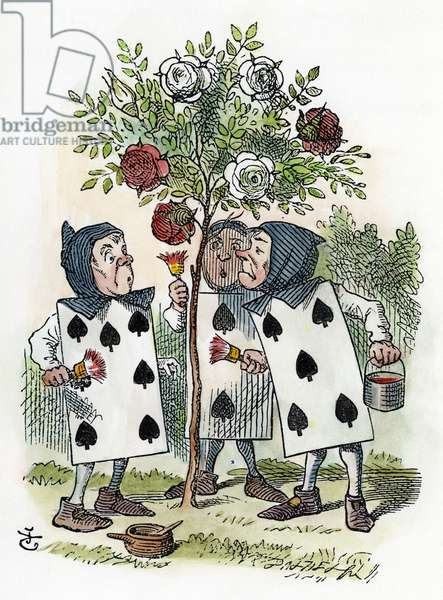 CARROLL: ALICE, 1865 The Queen of Hearts' gardeners painting the rose-tree. Illustration by Sir John Tenniel from the first edition of Lewis Carroll's 'Alice's Adventures in Wonderland,' 1865.