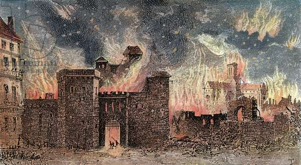 GREAT FIRE OF LONDON, 1666 The Great Fire of London, 1666, which destroyed 13,200 houses and 89 churches but with a total death toll of six persons. Wood engraving, 19th century.