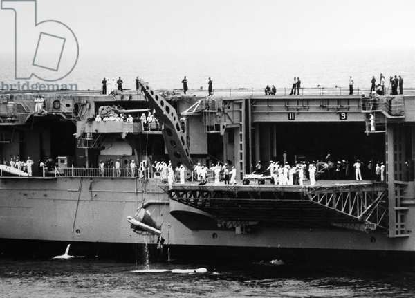 GEMINI IV: RECOVERY, 1965 The Gemini IV spacecraft being hoisted onto the USS Wasp after completing its mission, 7 June 1965.