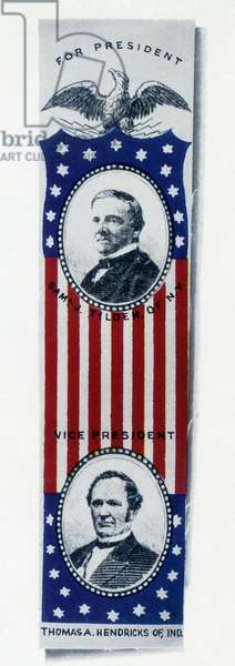 PRESIDENTIAL CAMPAIGN, 1876 Election ribbon favoring Samuel L. Tilden and Thomas A. Hendricks as the Democratic candidates for President and Vice President in the 1876 presidential election.