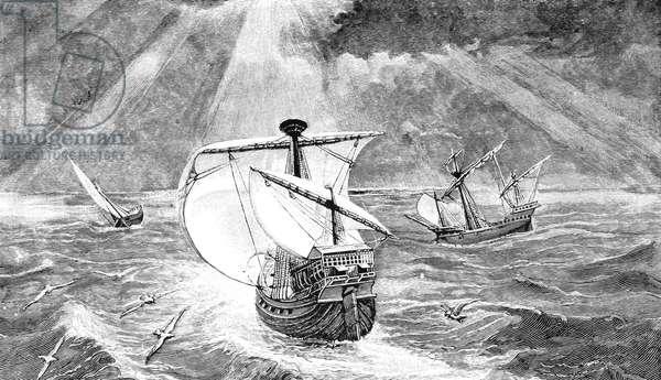 COLUMBUS: CARAVELS, 1492 The ships of Christopher Columbus (the Nina, Pinta, and Santa Maria). Engraving, 1800s.