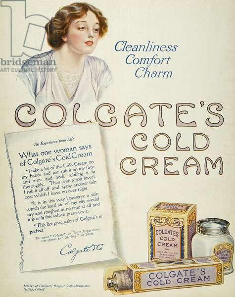 COLD CREAM AD, 1913 Colgate's Cold Cream advertisement from an American magazine, 1913.