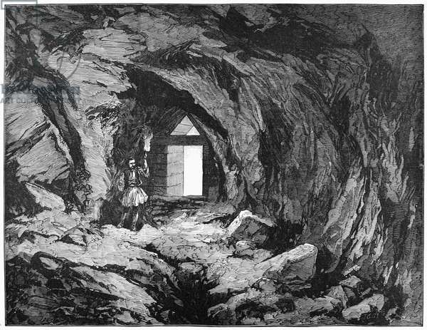 MYCENAE: TREASURY, 1877 Rock-cut chamber in the Treasury of Atreus, a tholos tomb in Mycenae, Greece, constructed c.1250 B.C. and excavated by Dr. Heinrich Schliemann. English engraving, 1877.