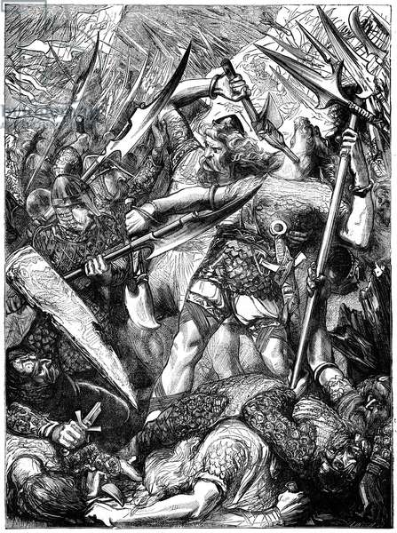 BATTLE OF HASTINGS, 1066 The death of King Harold II at the Battle of Hastings. Wood engraving, 19th century.