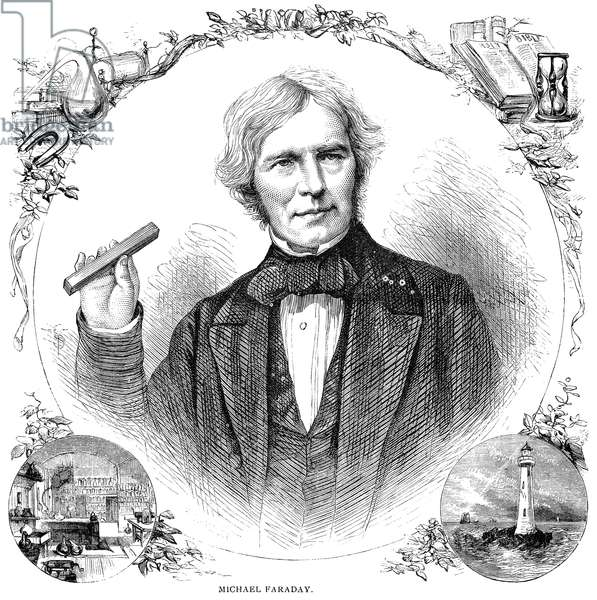 MICHAEL FARADAY (1791-1867). English chemist and physicist. Wood engraving, 1876.