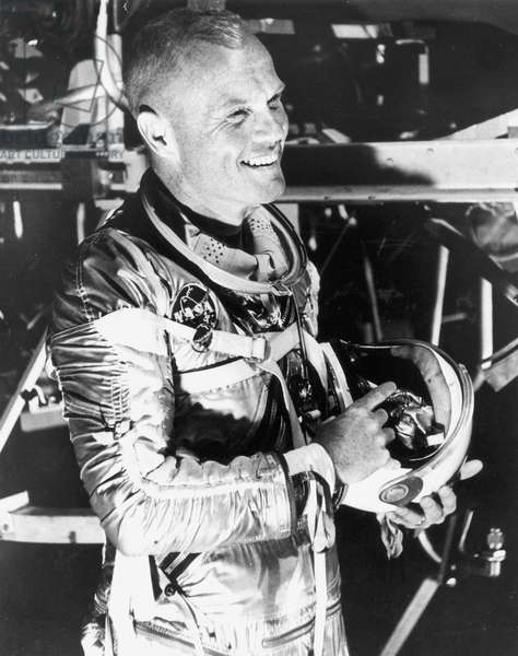 JOHN GLENN, 1961 American astronaut and politician. Lt. Colonel John Glenn (1921- ) poses in a pressure suit after being named as the pilot for the Mercury-Atlas 6 mission, Nov. 21, 1961.