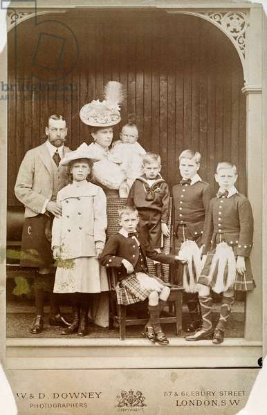 GEORGE V & FAMILY, 1906 King George V of Great Britain, while Duke of York, in 1906 with Princess Mary of Teck and their children: from left, Mary Princess Royal; the infant Prince John; Prince Henry, Duke of Gloucester, seated; Prince George, Duke of Kent; Edward, Prince of Wales [King Edward VIII]; and Prince Albert [King George VI].