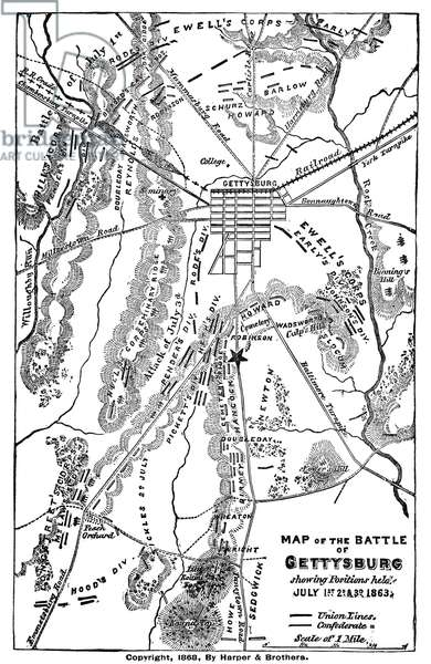 CIVIL WAR: GETTYSBURG Map of the Battle of Gettysburg, 1-3 July 1863. Engraved by Harper and Brothers, 1868.