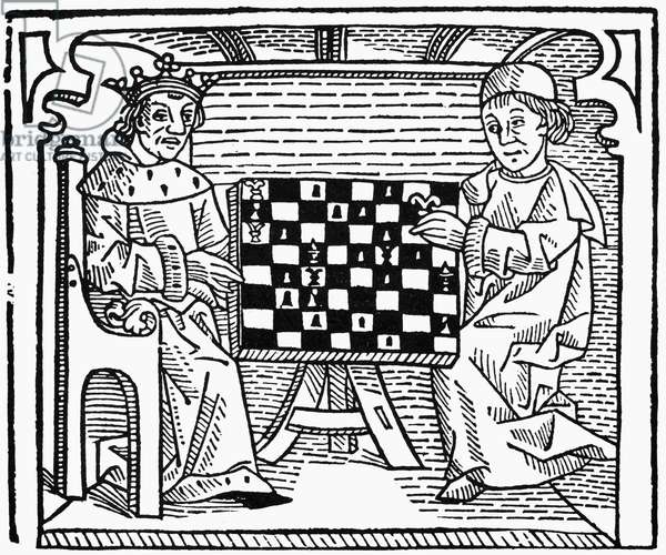 CESSOLIS: CHESS, c.1483 Woodcut from Jacobus de Cessolis' 'The Game and Playe of the Chesse.' Printed by William Caxton, c.1483.