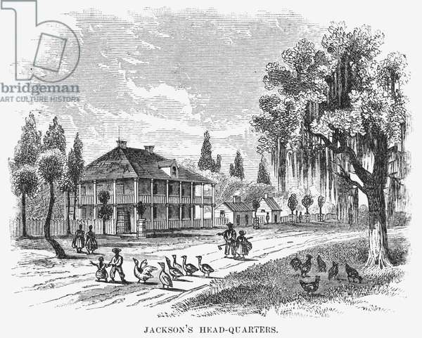 NEW ORLEANS: HEADQUARTERS Headquarters of General Andrew Jackson at New Orleans, Louisiana, used in 1815. Wood engraving, 19th century.