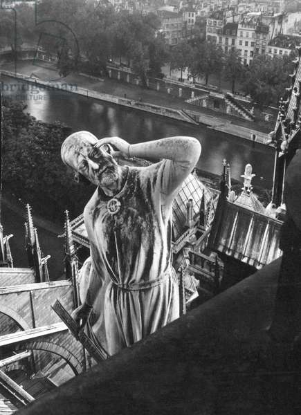 EUGENE VIOLLET LE DUC (1814-1879). French architect. A statue of him on the Notre-Dame in Paris.