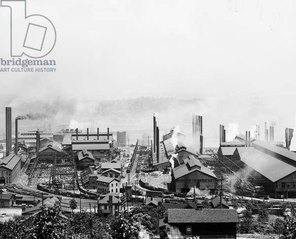 CARNEGIE STEEL MILL, c.1905 Carnegie Steel Works in Homestead, Pennsylvania. Photograph, c.1905.