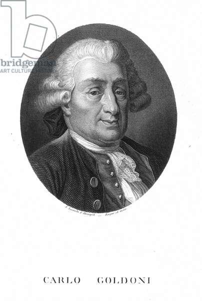 CARLO GOLDONI (1707-1793) Italian playwright. Steel engraving, Italian, 19th century.