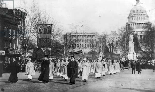 SUFFRAGE PARADE, 1913 American nurses marching in the women's suffrage parade held in Washington, D.C., 3 March 1913.