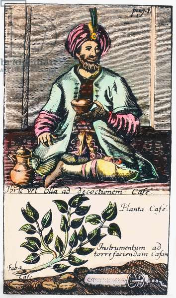 TURKEY: COFFEE, 1688 A Turkish man drinking coffee, and, in the lower panel, a Turkish coffee mill lying beside a coffee plant. Line engraving, German, 1688.