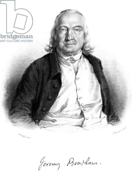 JEREMY BENTHAM (1748-1832) English jurist and philosopher. Stipple engraving, English, 1823, after William Derby.