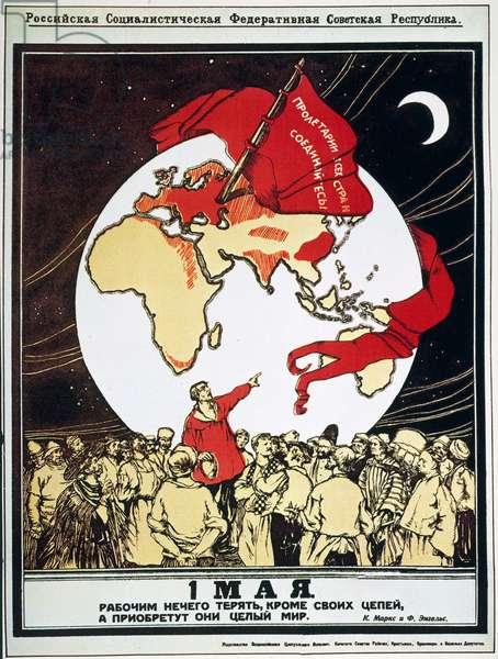 SOCIALIST REVOLUTION, 1917 Bolshevik poster of the Russian Revolution hailing the coming of the world-wide Socialist revolution.