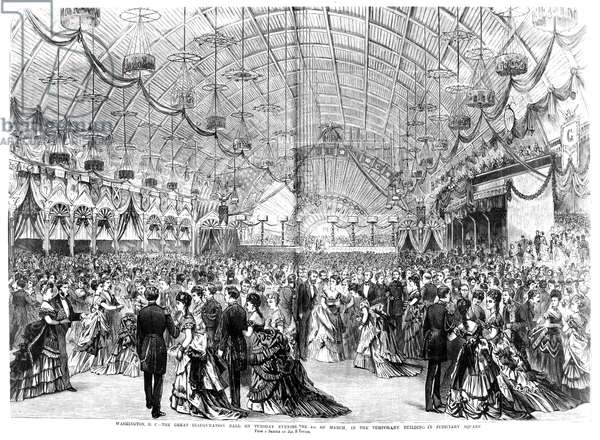 INAUGURAL BALL, 1873 Inaugural ball given for the second inauguration of President Ulysses S. Grant on 4 March 1873. Wood engraving from a contemporary newspaper.