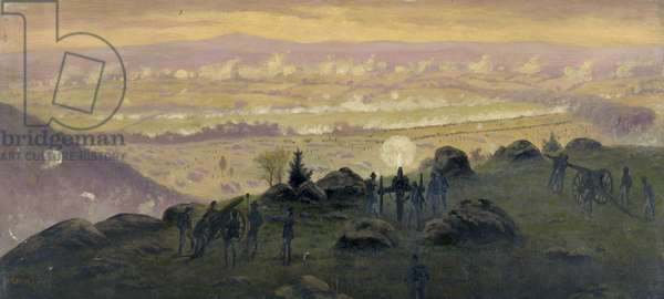 CIVIL WAR: GETTYSBURG, 1863 View from the summit of Little Round Top during the Battle of Gettysburg. Painting by Edwin Forbes, between 1865 and 1895.