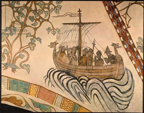 VIKING SHIP, 1030 A.D The Viking ship of King Harold III of Norway sailing against the ship of his half-brother, the former King Olaf II of Norway, in the latter's unsuccessful effort to recapture the crown in 1030. Fresco, c1375, from a Danish church.