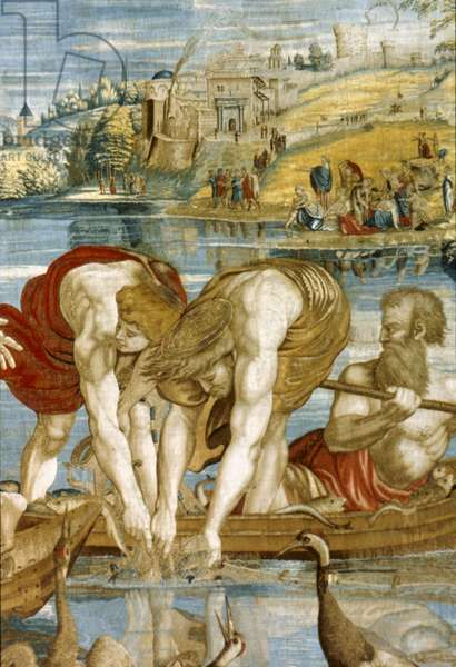 'The Miraculous Draught of Fishes,' detail of a tapestry, c.1532 (cartoon)