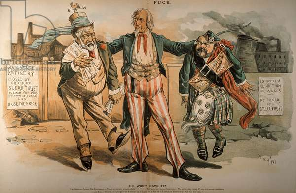 UNCLE SAM & TRUSTS, 1888 He Wont Have It!: American cartoon, 1888, by C. Jay Taylor of Uncle Sam castigating James G. Blaine as a leading protector of trusts and a kilt-wearing Andrew Carnegie as a prime example.
